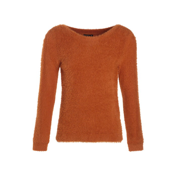 Pull manches longues marron femme