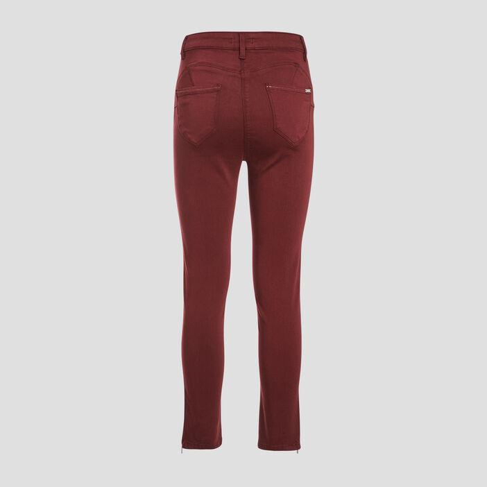Pantalon ajusté taille haute bordeaux femme