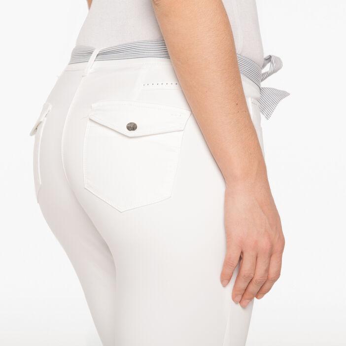Pantalon 7/8e uni avec ceinture ruban ecru femme