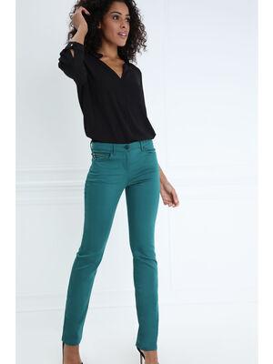 Pantalon taille basculee 5 poches vert canard femme