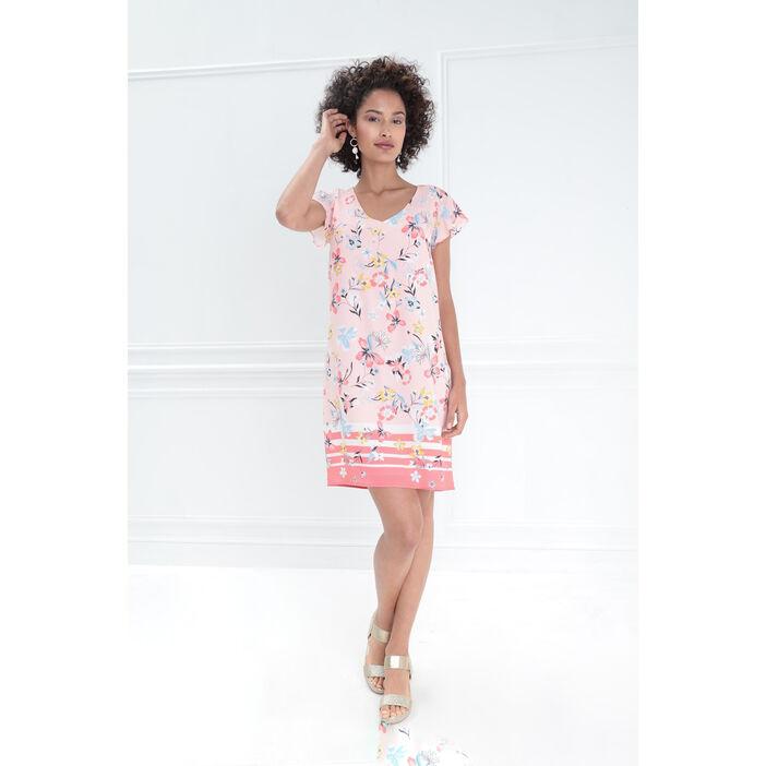 Robe courte droite col en V rose clair femme