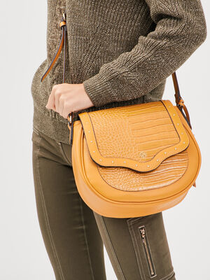 Sac bandouliere texture jaune or femme