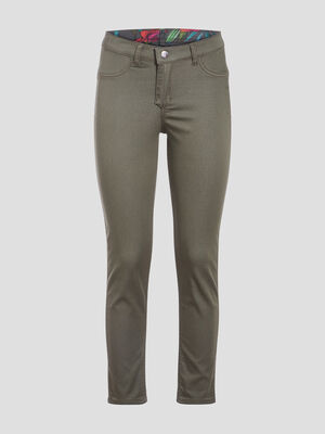 Pantalon reversible confortable vert kaki femme