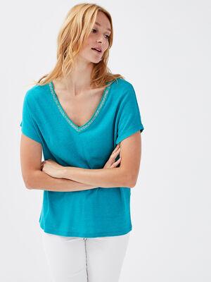 T shirt manches courtes bleu turquoise femme