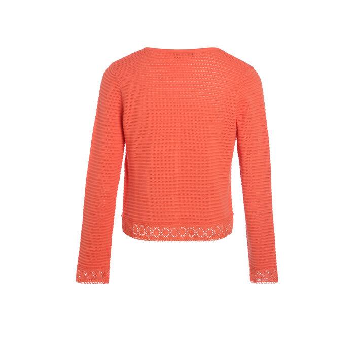 Gilet maille ajourée macramé orange corail femme