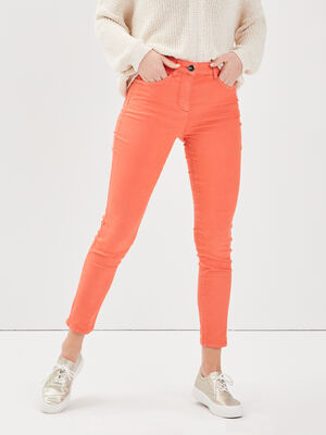 Pantalon leger toucher doux orange corail femme