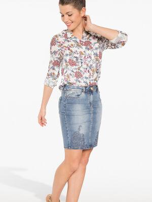 Chemise a fleurs blanc femme