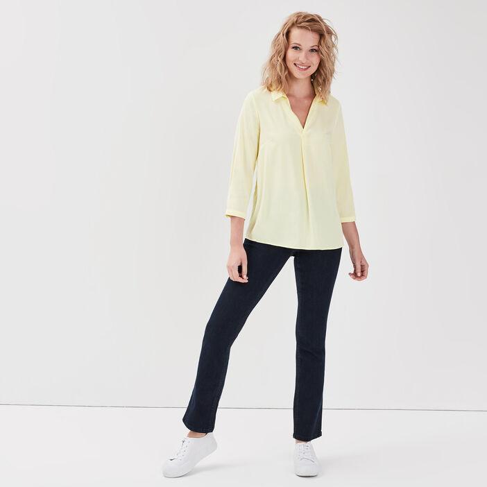 Jeans droit taille haute denim brut femme