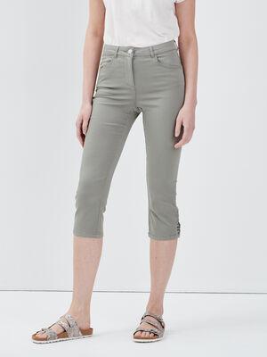 Pantacourt ajuste taille standard vert clair femme