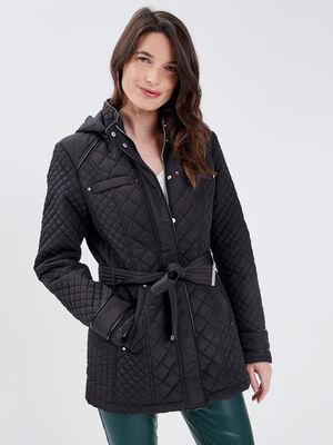 Doudoune ceinturee a capuche noir femme