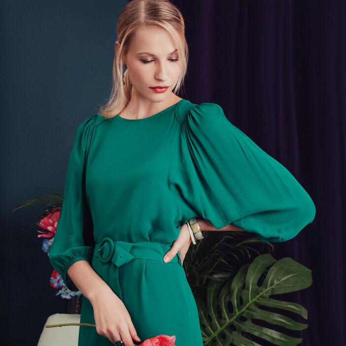 Robe évasée ceinturée vert émeraude femme