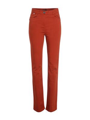 Pantalon droit taille haute orange fonce femme