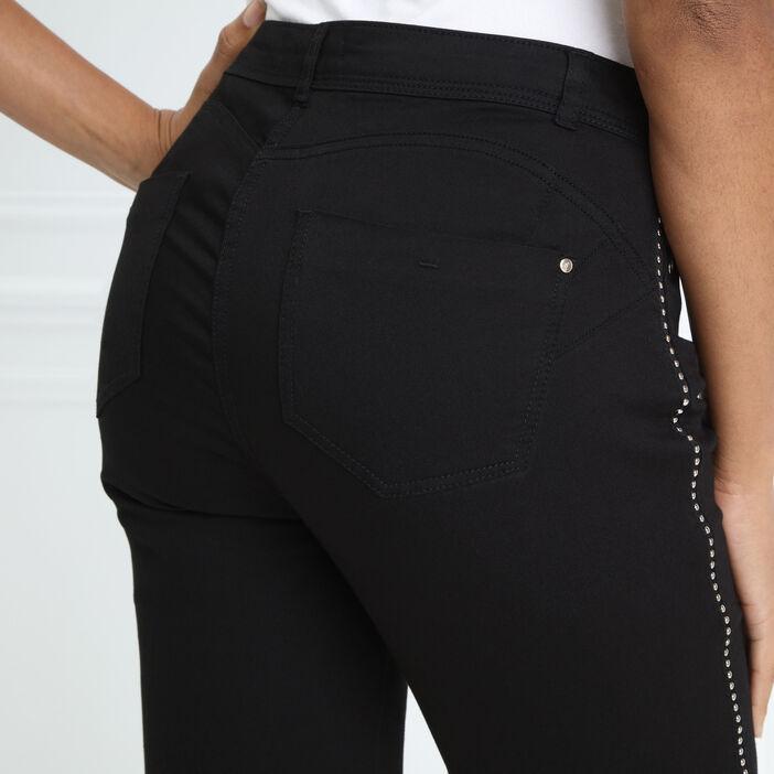 Pantalon taille standard ajusté clous noir femme