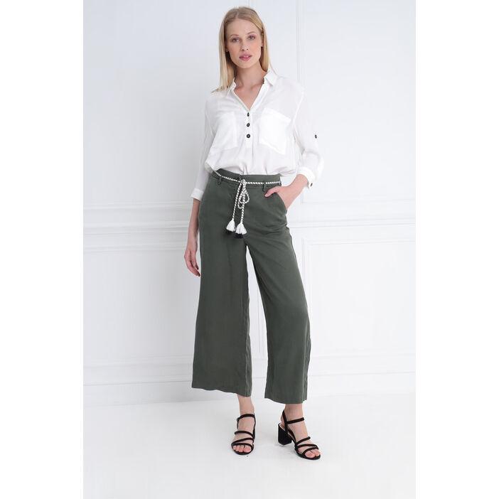 Pantalon uni taille haute vert kaki femme