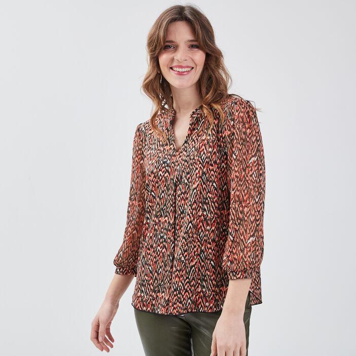 T-shirt manches 3/4 multicolore femme