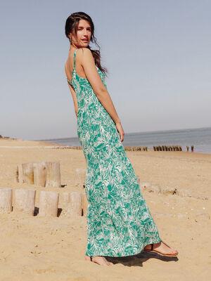 Robe longue evasee vert femme