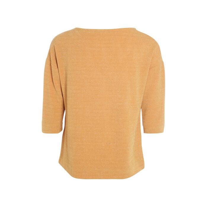 T-shirt col rond maille métallisée camel femme
