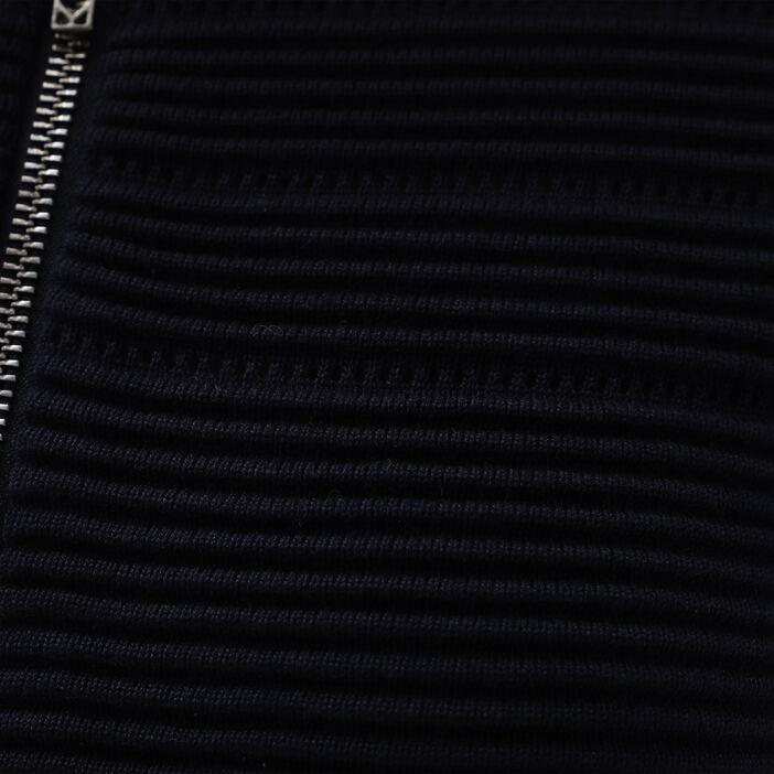 Cardigan droit maille ottoman bleu marine femme