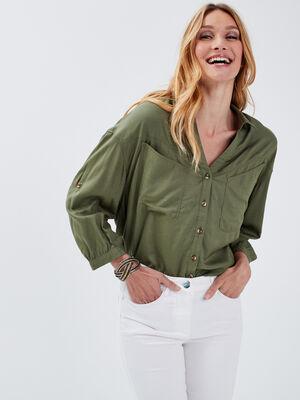 Chemise manches 34 vert kaki femme