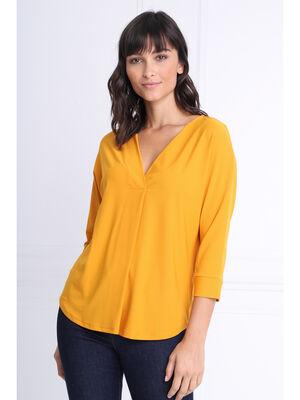 T shirt manches 34 col en V jaune moutarde femme
