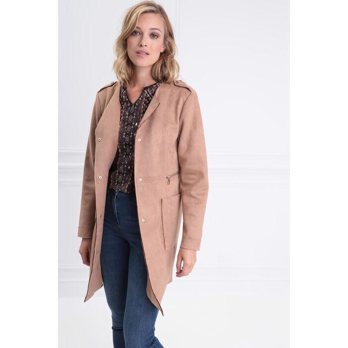 magasin officiel nouveau pas cher style de la mode de 2019 Manteau droit boutonné suédine marron clair femme | Vib's