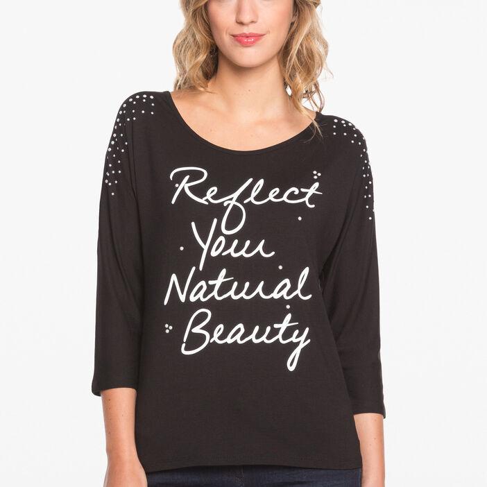 T-shirt manches 3/4 épaules en voile noir femme