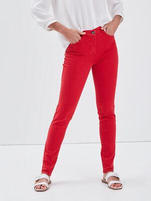 Jean ajuste taille standard rouge femme