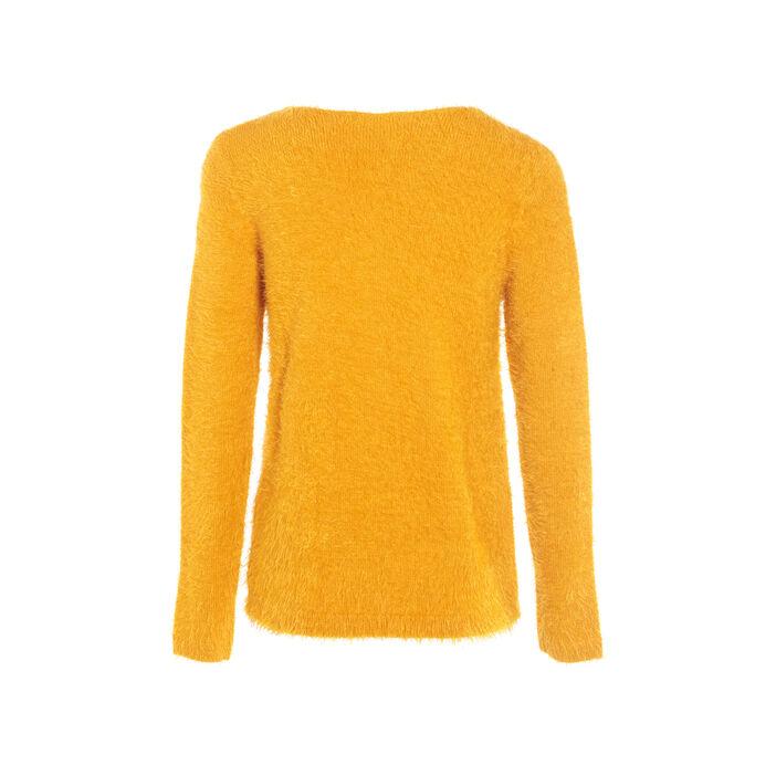 Pull manches longues zippé jaune or femme