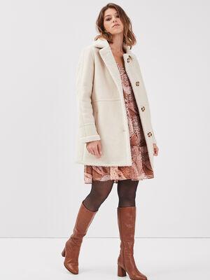 Manteau droit boutonne creme femme