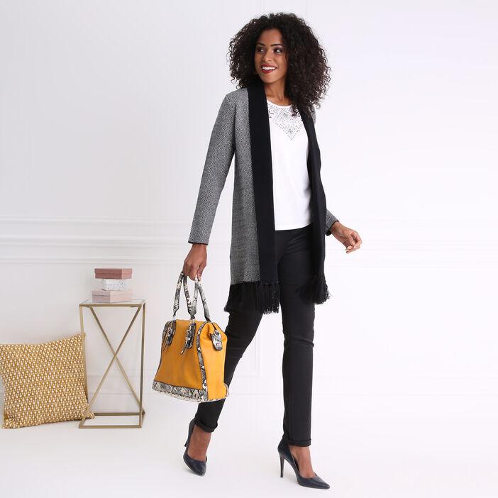 Pantalon taille haute ajusté enduit noir femme