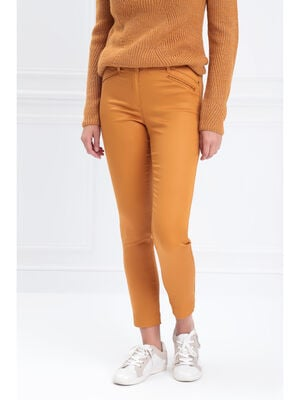 Pantalon ajuste enduit jaune moutarde femme