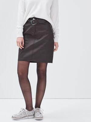 Jupe droite enduite details cloutes marron fonce femme