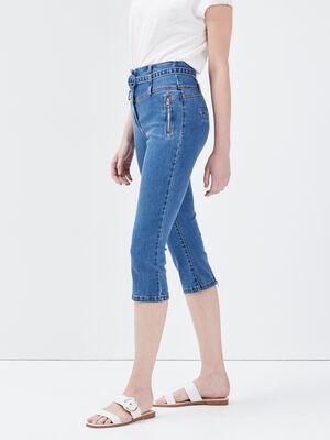 Pantacourt ajuste en jean denim double stone femme