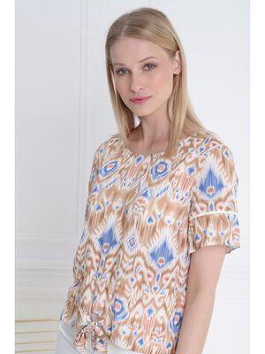 Blouse manches courtes nouee blanc femme