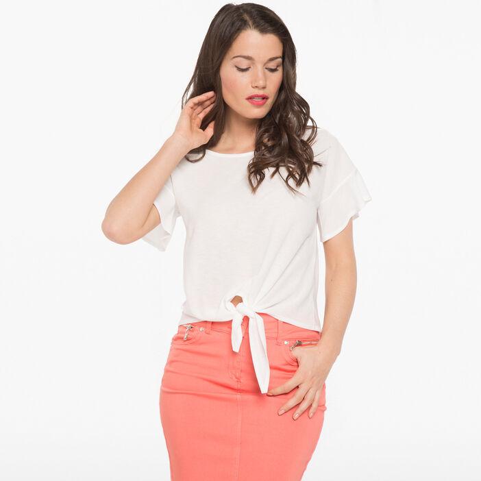 T-shirt léger à nouer devant ecru femme