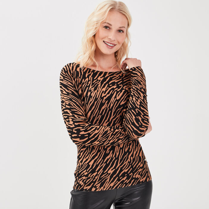 Pull manches longues marron clair femme