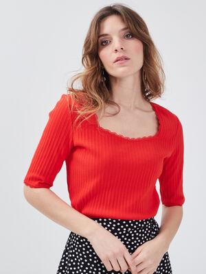 T shirt manches courtes cotele rouge femme