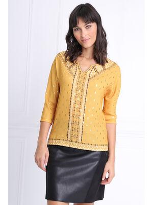 T shirt manches 34 a strass jaune or femme
