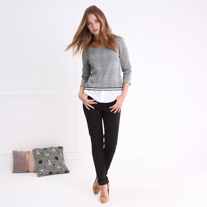 T-shirt col rond imprimé 2 en 1 gris foncé femme