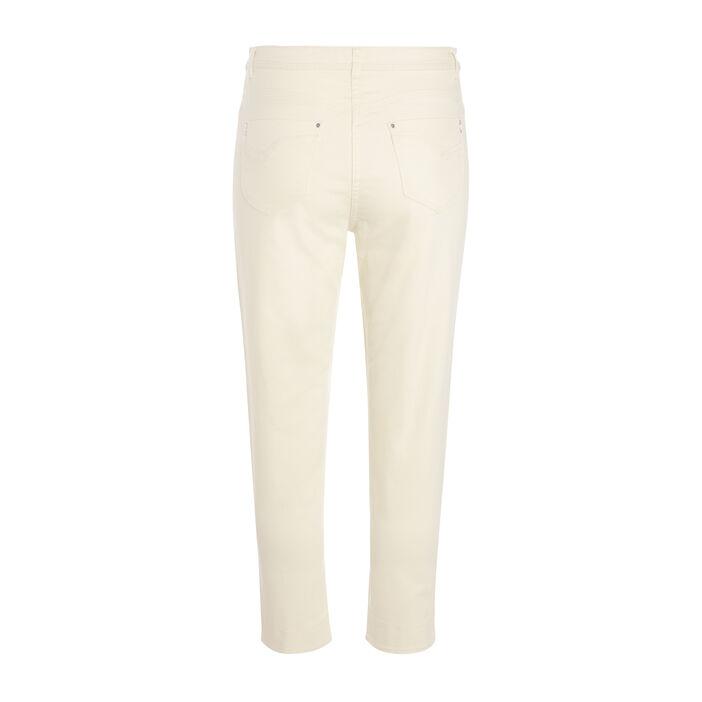 Pantalon 7/8ème ajusté taille basculée jaune clair femme