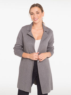 Gilet cintre long maille chinee gris clair femme