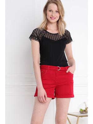 Short droit taille standard rouge femme
