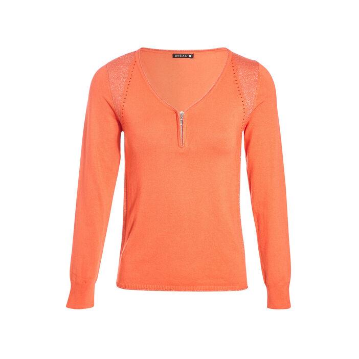 Pull manches longues col en V orange corail femme
