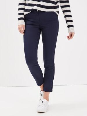 Pantalon ajuste bandes cotes bleu marine femme