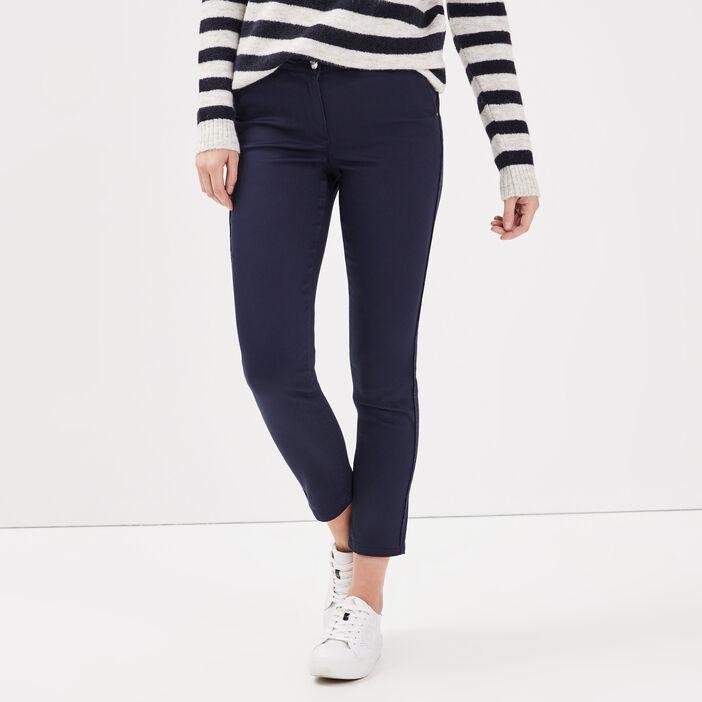 Pantalon ajusté bandes côtés bleu marine femme