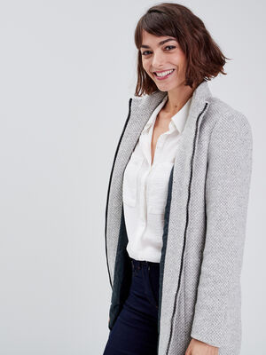 Manteau droit zippe gris clair femme