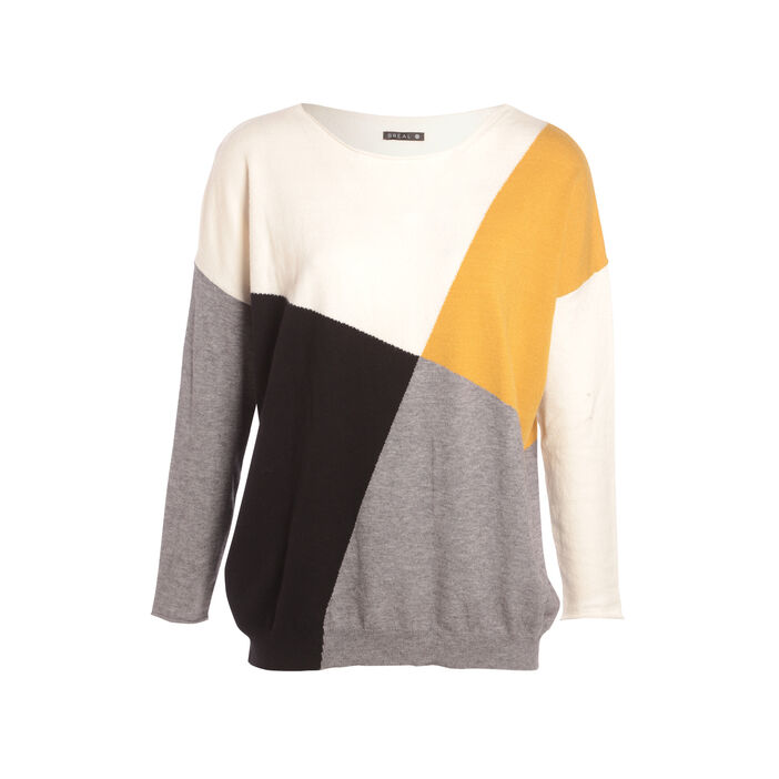 Pull manches longues jaune femme