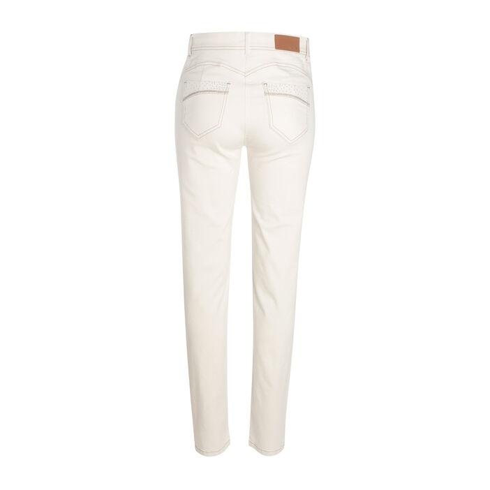 Pantalon ajusté 5 poches creme femme