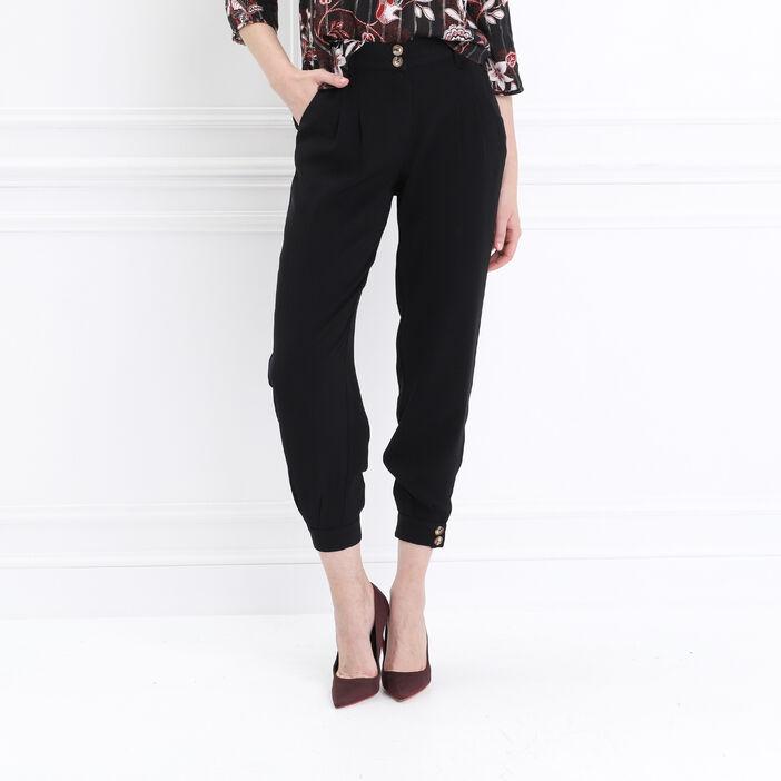 Pantalon cargo taille standard noir femme