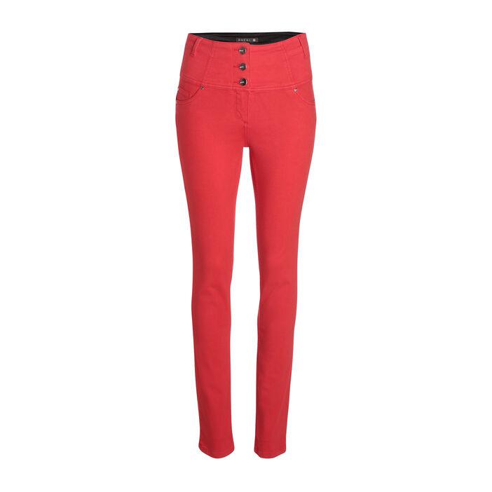 Pantalon magique gainant uni rouge femme